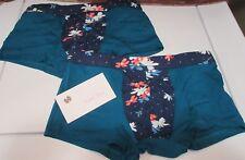 """2 Pair Men's Sexy Blue w Floral Pattern Trunk Boxer Brief Underwear 28-32"""" S/M"""