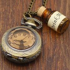 Wishing Bottle  Drink Me Pocket Watch Alice In Wonderland Long Necklace Charm