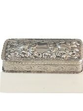 Antique Solid Sterling Silver Table Snuff Trinket Box William Comyns London 1885