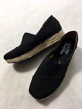 Skechers Bobs Highlights Womens 9.5 High Jinx Solid Black Slip On Shoes Wedges