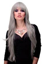 ondulés Longue perruque avec joli frange gris Gris env. 80cm 6311-51