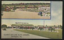 1930s Postcard Tallahassee Fl/Florida Clarks Deluxe Motel Motor Court