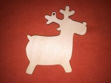 50 x REINDEER RUDOLPH n33 PLAIN SHAPE WOODEN BLANKS HANGING CHRISTMAS CRAFT TAG