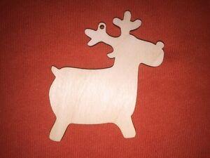 10 x REINDEER RUDOLPH n33 PLAIN SHAPE WOODEN BLANKS HANGING CHRISTMAS CRAFT TAG