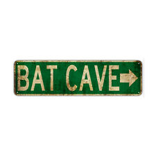 Bat Cave With Right Arrow Decor Wall Bar Street Rustic Vintage Retro Metal Sign