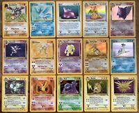 Pokemon Fossil Rare Holo cards Dragonite Gengar Moltres Raichu you Choose