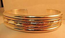"""Solid Sterling 925 - 12k GF. Designer CUFF Bracelet 2.25"""" 31.9g  SALE!  #S100"""