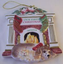 Fitz & Floyd Our First Christmas Porcelain Ornament 2003 Ff Cat Dog Fireplace