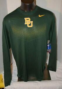 NIKE Dri-Fit Baylor University Bears BU Green Long Sleeve T Shirt Men's L - XXL