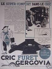 PUBLICITÉ 1933 CRIC FURET GERGOVIA - ETS PINGEOT - ADVERTISING