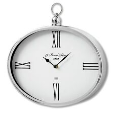 Antique Vintage Style Bond Street London Silver Chrome Metal Oval Wall Clock