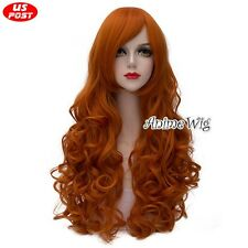 Batgirl Cosplay Party 70CM Orange Curly Hair Women Anime Wig Heat Resistant