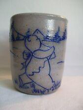 Salmon Falls Pottery Helen Berg Signed Stoneware Salt Glazed Crock Bear & Kite