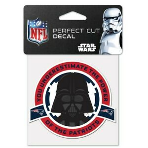 """NEW ENGLAND PATRIOTS STAR WARS DARTH VADER PERFECT CUT DECAL 4""""X4"""" FOR WINDOWS"""
