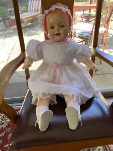 "Vintage Composition/Cloth Body Doll;marked-HAP; 100% restored;24""large baby doll"