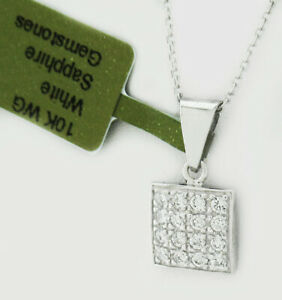 WHITE SAPPHIRES  0.64 Cts SQUARE PENDANT 10K WHITE GOLD *** New With Tag ***