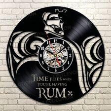 Pirate Vinyl Record Wall Art Clock Time Flies When You're Having Rum Handmade