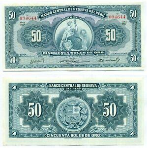 PERU NOTE 50 SOLES DE ORO 22.3.1956 P 78 UNC