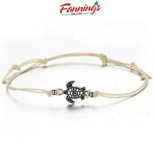 Adjustable Wax Rope, White New Bohemian Turtle Anklet