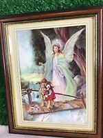 Guardian Angel Watching Over Children Crossing A Broken Bridge Print Framed