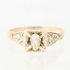 Victorian Diamond Ring - 10k Yellow Gold Antique Engagement Old Mine Pear .32ct