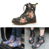 Women Floral Lace Up Martin Shoes Ankle Boots Print Low Heel Flat Antiskid 6-9