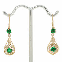 Round Cut Simulated Emerald Vintage Earrings - 14k Yellow Gold Pierced Dangles