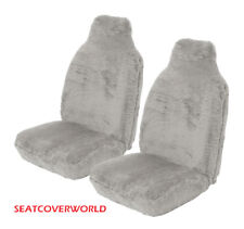 Universal Front Pair of GREY SHEEPSKIN Seat Covers for Car Vans 4x4 MPVs SUVs