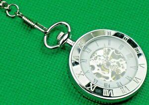 """Pocket Watch """"Double Hunter Open Works"""" + Chain, Modern Silver Looks, Glass Lid!"""