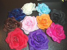 wholesale lot 5 ROSE flower hair bow GIRLS women BRIDAL prom PAGEANT pin-up NEW