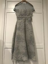 Lela Rose NWT Metallic Cocktail Dress With Sheer Mesh Top, Ice Blue, Size 2
