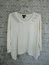 New Jenny Sweater Size 1X Ivory Pull Over V Neck Long Sleeve Handkerchief Hem