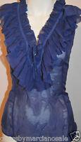 GUESS by Marciano 100% Luxury Silk Sheer Blouse Ruffle Shirt Blue Size L