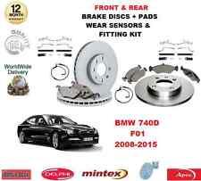 para BMW 740d F01 DELANTERO Y Trasero Pastillas de freno Discos Ajuste Kit Ropa