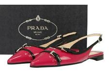NEW PRADA MILANO LADIES IBISCO BLACK PATENT LEATHER LOGO FLAT SHOES 39.5/US 9.5