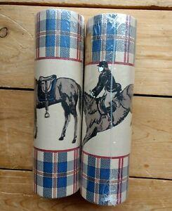 Lot of 2 Equestrian Wallpaper Border Horses Rider 5 YDS NOS Plaid Blue/Tan/Red