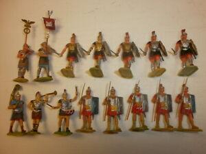 1. Convolute 15 Old Elastolin Plastic Figures Rummer To 1 5/8in
