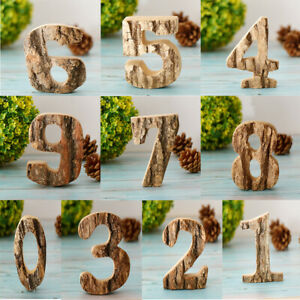 Number Decoration for Birthday Party Wooden Art Crafts 0-9 Vintage Style