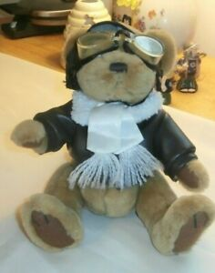 Pickford Sears Radar Teddy Bear Pilot Aviator Stuffed Brass Button Brown 9 ""