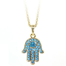 """Gold Color Hamsa Hand of Fatima Pendant with Blue Crystals and 16"""" Chain"""