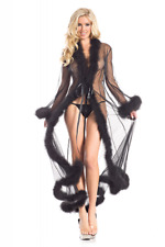 Undressed bathrobe robe burlesque pinup hollywood marabout feathers