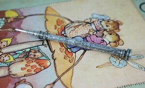 S. MORDAN & CO sterling silver propelling pencil agate top antique 1800's Englan