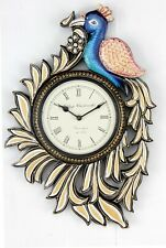 Traditional Rajasthani Hand Painted Wooden Peacock Shape Wall Clock - 405