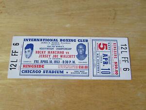 Original Unused 1953 Rocky Marciano vs.Jersey Joe Walcott Boxing Ticket /Chicago