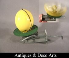 Vintage Mechanical Tin Metal Spinning Toy: Opening Egg with Chick Inside
