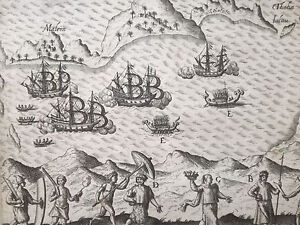 De Bry Asia Original Engraving Map Ambon Island Moluccas Indonesia - 1600