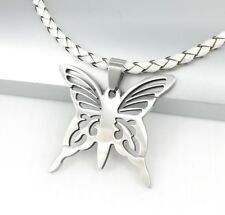 Silver Stainless Steel Butterfly Pendant Womens White Leather Choker Necklace