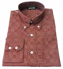 Relco Burgundy Print Cotton Long Sleeved Retro Mod Button Down Shirts S to 3xl