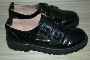 TOPSHOP WOMENS BLACK BUCKLE SYNTHETIC COMFORT SHOES SIZE:6.5/40(WS52)