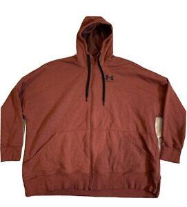 Under Armour Loose Fit Full Zip Hooded Sweatshirt Mems Size 3x Orange
